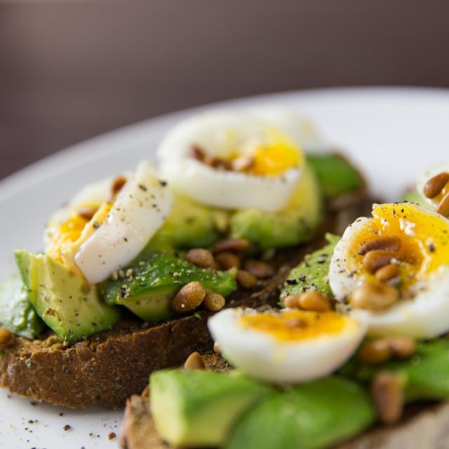 """Egg avocado on toast"" stock image"