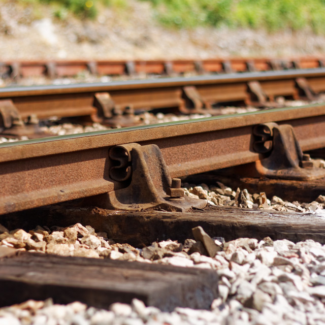 """""""Ageing Railway Line Showing Signs of Disrepair"""" stock image"""