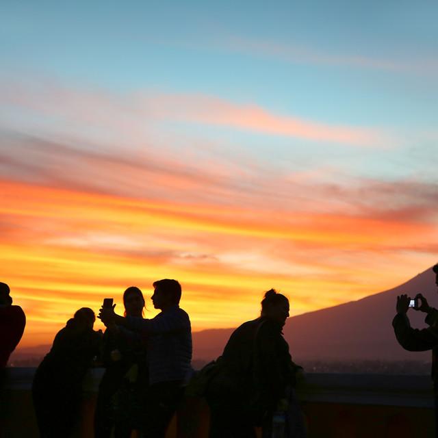 """Sunset over the Popocatepetl Volcano in Puebla, Mexico"" stock image"