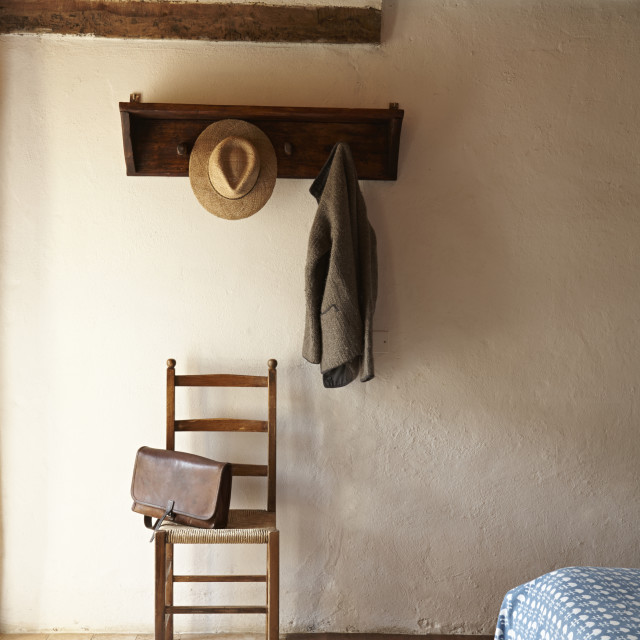 """""""Simple country bedroom interior detail."""" stock image"""