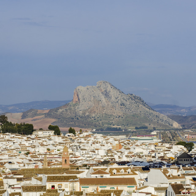 """The town of Antequera skyline in the province of Malaga Spain"" stock image"