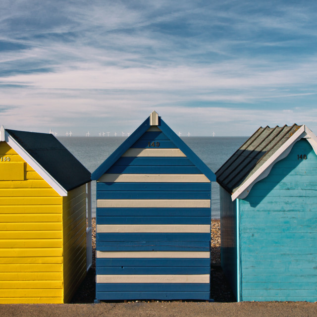 """""""Beach Huts in Summer"""" stock image"""