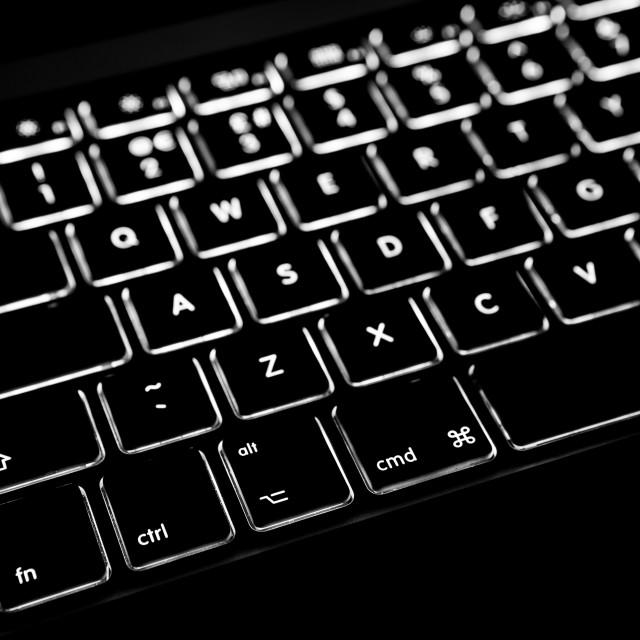 """Backlit Laptop Computer Keyboard"" stock image"