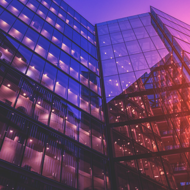 """Glass Office Building at Sunset"" stock image"