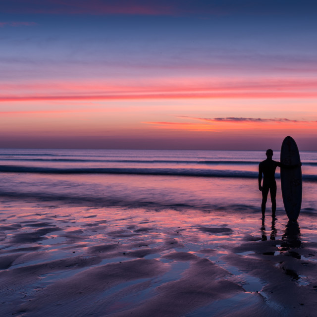"""""""Silhouette of Surfer Man on Beach"""" stock image"""