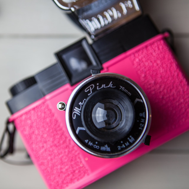 """Pink Retro Camera"" stock image"