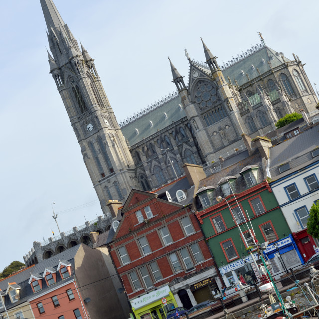 """St Colman's Cathedral above cobh town and bay"" stock image"