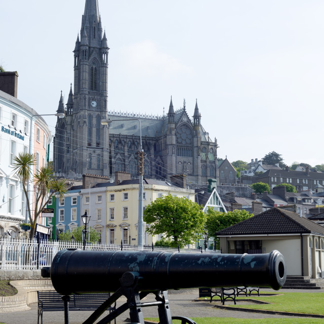 """St Colman's Cathedral and canon"" stock image"