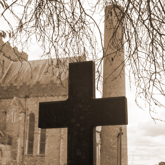 """sepia cross at ancient graveyard"" stock image"