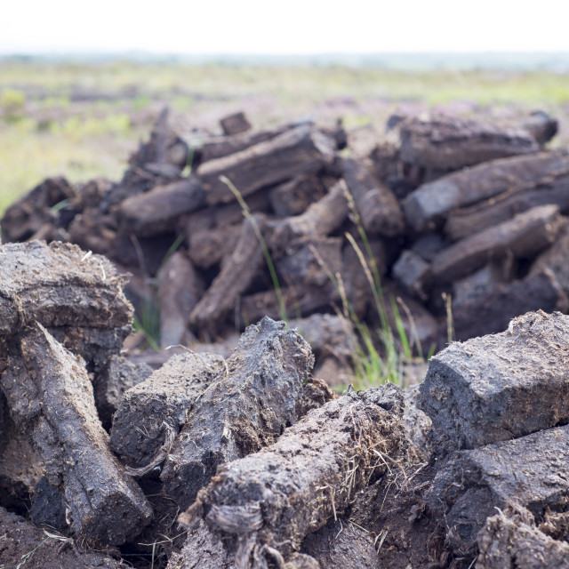 """peat stacked up for the bog winds to dry"" stock image"