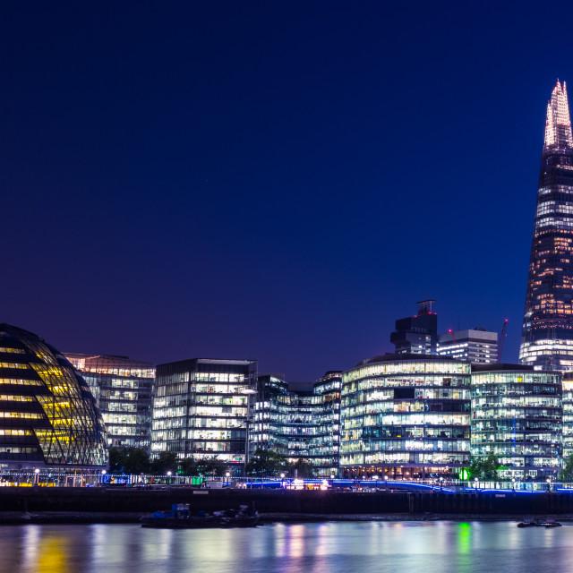 """London skyline at night"" stock image"