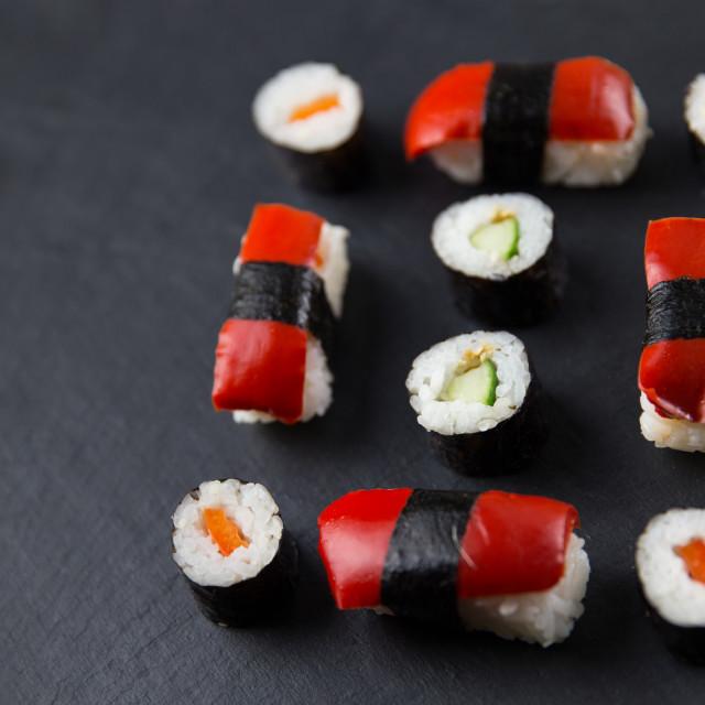 """""""Sushi platter on dark background"""" stock image"""