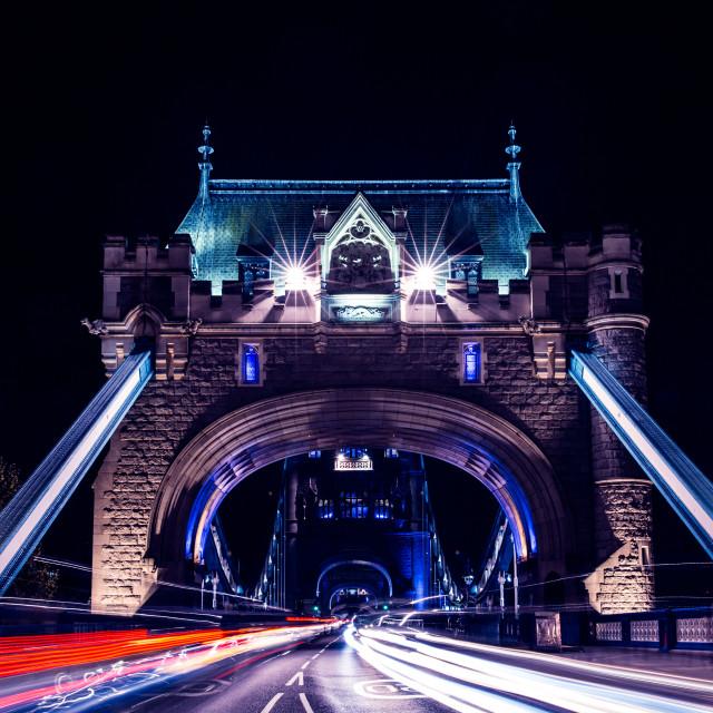 """Tower Bridge at night in London"" stock image"