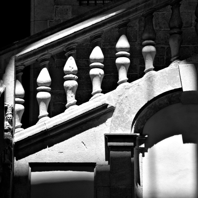 """""""Stone staircase in shadows, Barcelona"""" stock image"""