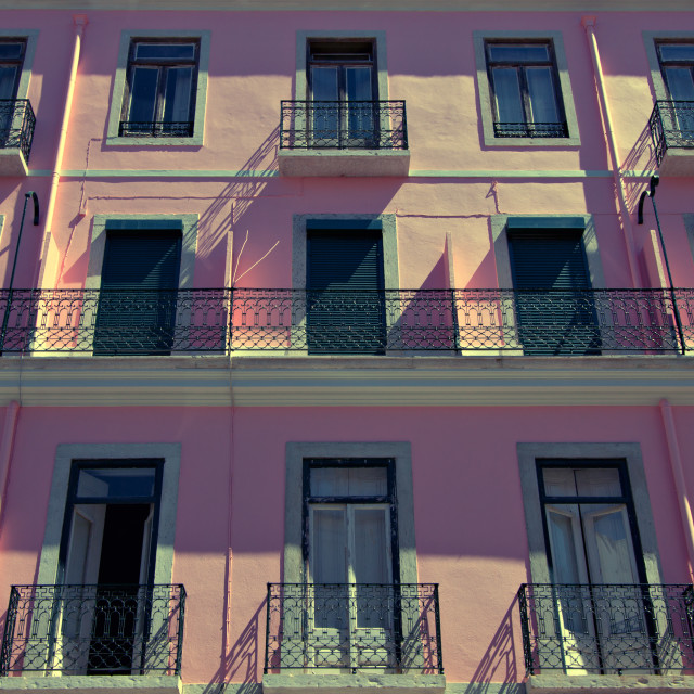 """""""Pink apartment building in Lisbon, Portugal"""" stock image"""