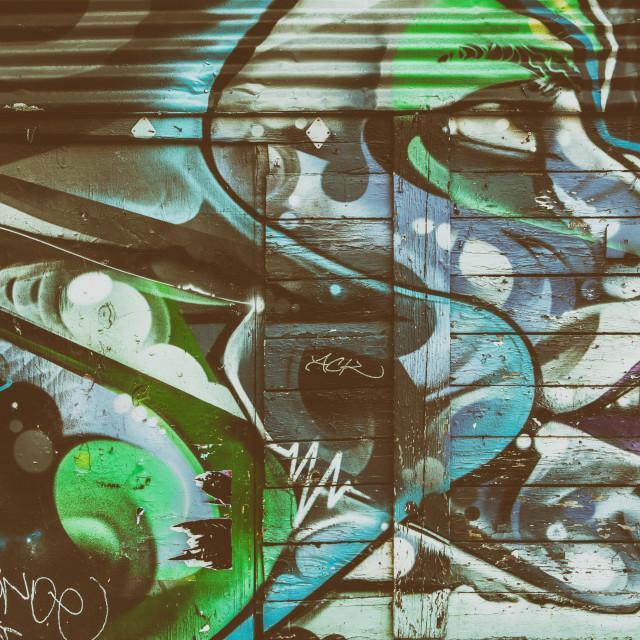 """Street art face in Shoreditch, London"" stock image"
