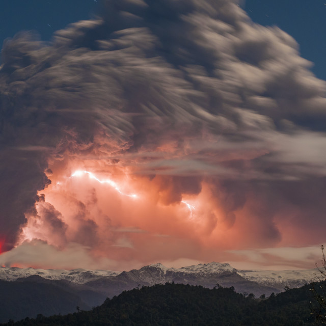 """Volcanic eruption in Chile. Volcano Cordon Caulle, Puyehue."" stock image"