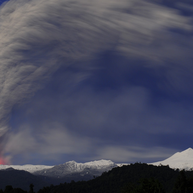 """Volcanic eruption in Chile. Volcano Cordon Caulle, Puyehue."" stock image"
