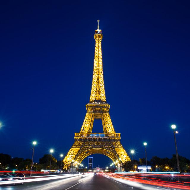 """Eiffel Tower in Paris at night"" stock image"