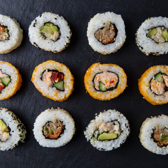 """""""Sushi rolls on dark background"""" stock image"""