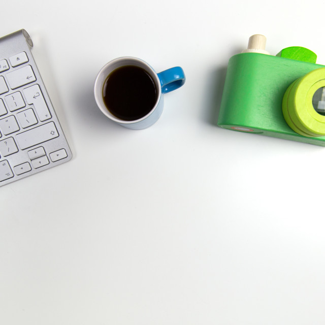 """Camera, computer and coffee"" stock image"
