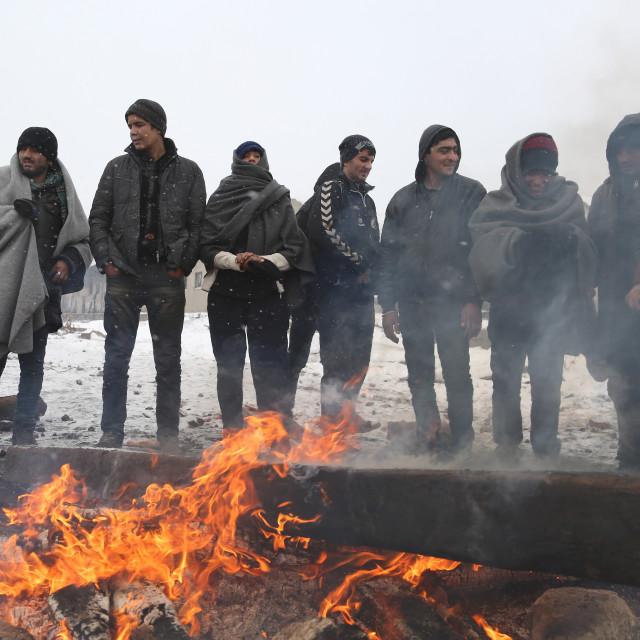 """""""Migrants in Belgrade during winter"""" stock image"""