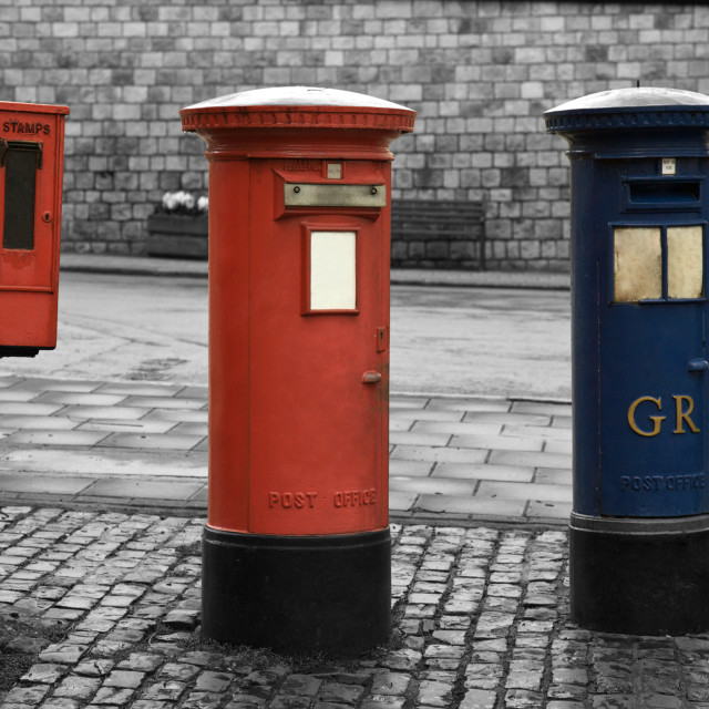 """Antique London old post box, England"" stock image"