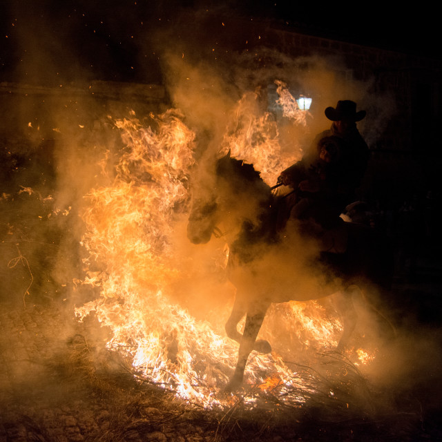 """Horse rider through fire"" stock image"
