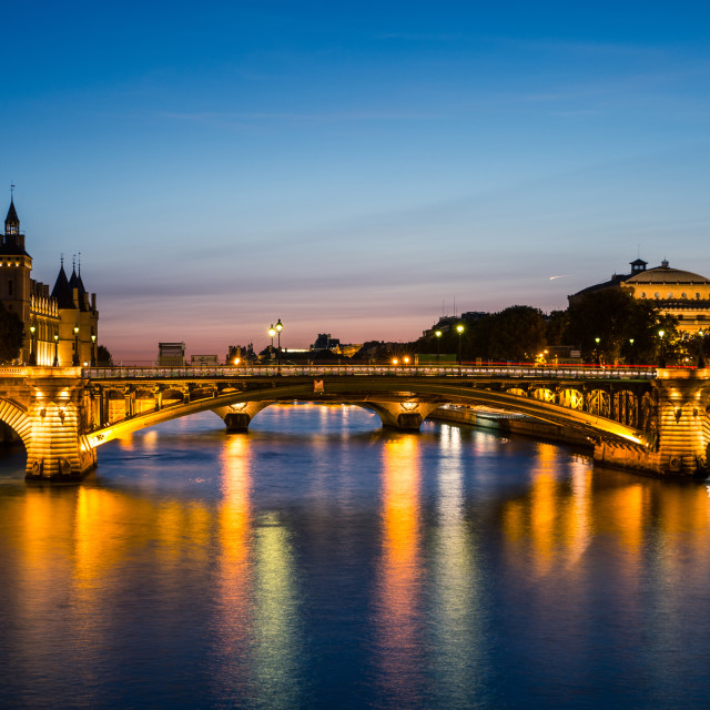 """Sunset on River Seine in Paris"" stock image"