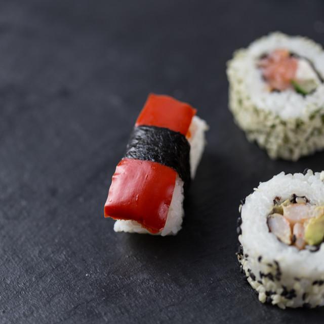 """""""Sushi pieces closeup"""" stock image"""