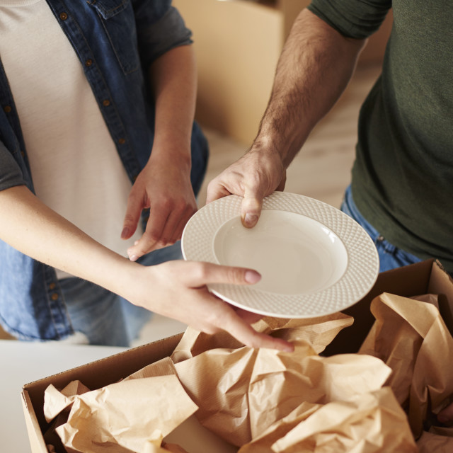 """""""Packing dinnerware to the boxes"""" stock image"""
