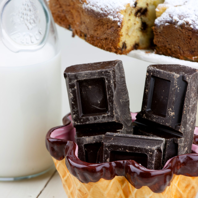 """""""Italian cake with ricotta, pears and drops of chocolate"""" stock image"""