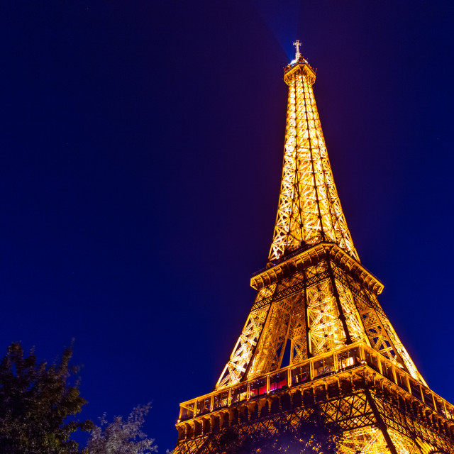 """Eiffel Tower at night in Paris"" stock image"