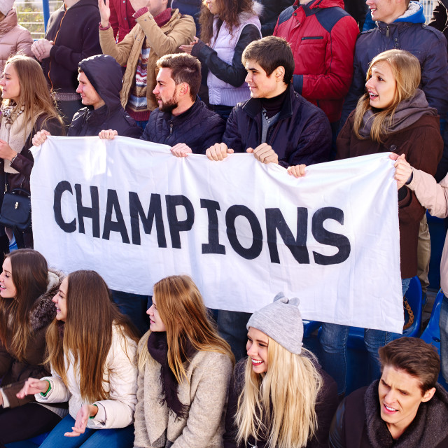 """Cheering fans in stadium holding champion banner."" stock image"