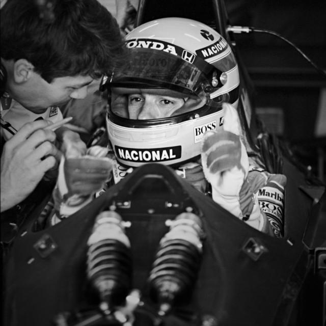 """Ayrton Senna with his chief engineer at Mclaren."" stock image"