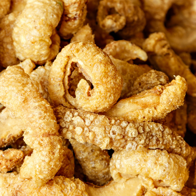"""Crispy pork rinds."" stock image"