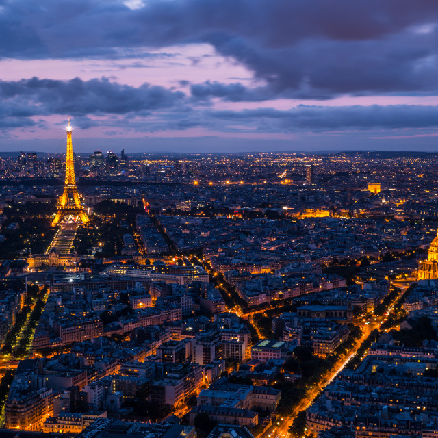 """Paris cityscape with Eiffel Tower at sunset"" stock image"