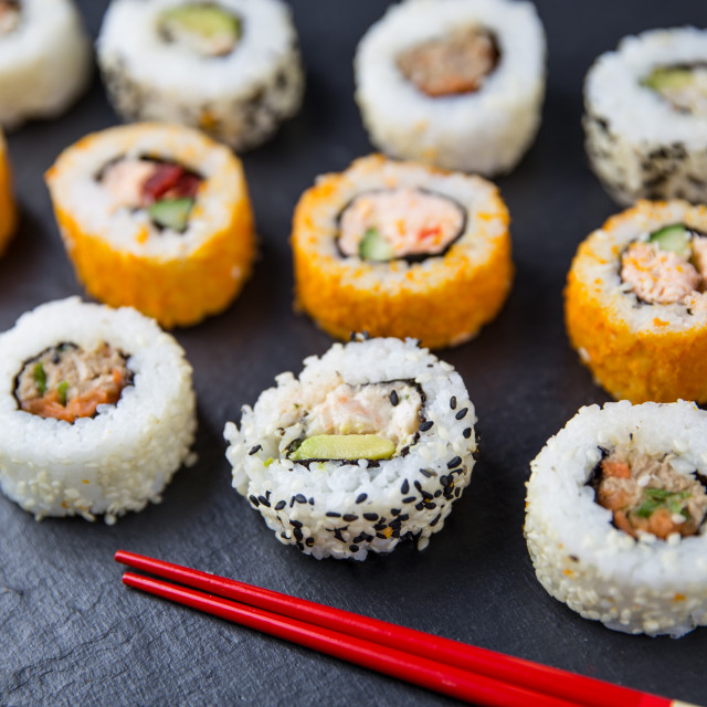 """Sushi rolls and chopsticks"" stock image"