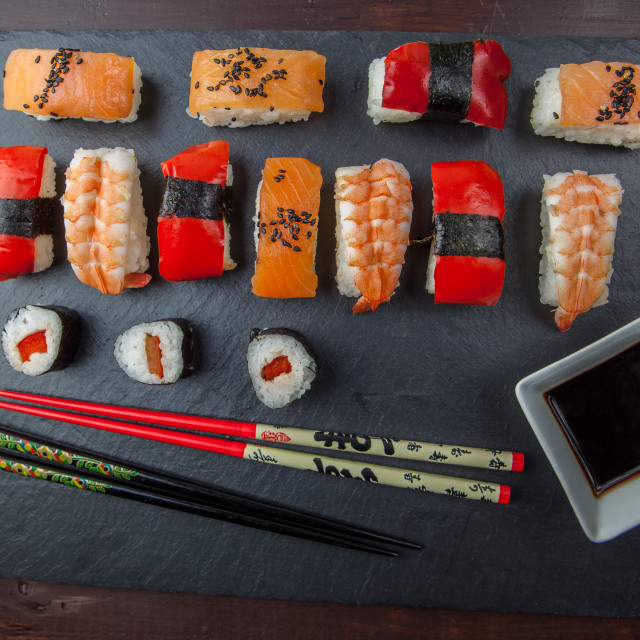 """Sushi platter and chopsticks"" stock image"