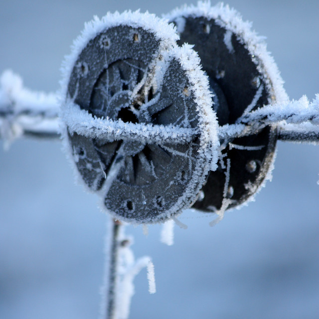 """Frozen barbed wire spool 2"" stock image"