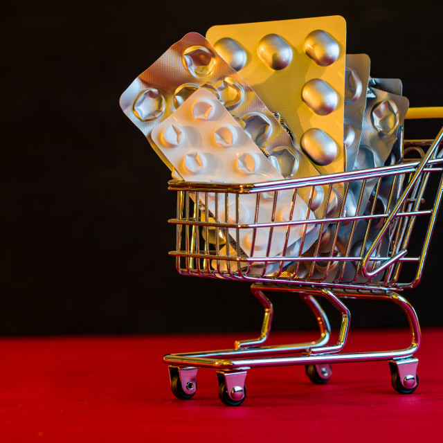 """Medicine in a shopping cart"" stock image"