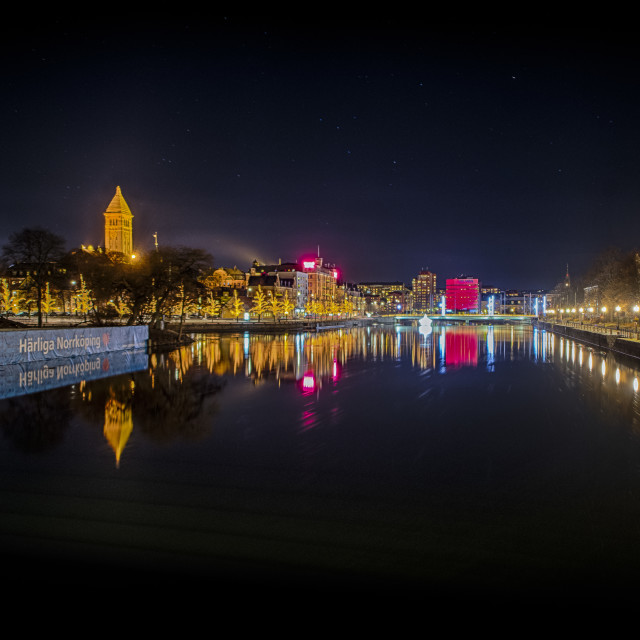 """Norrköping by night 2"" stock image"
