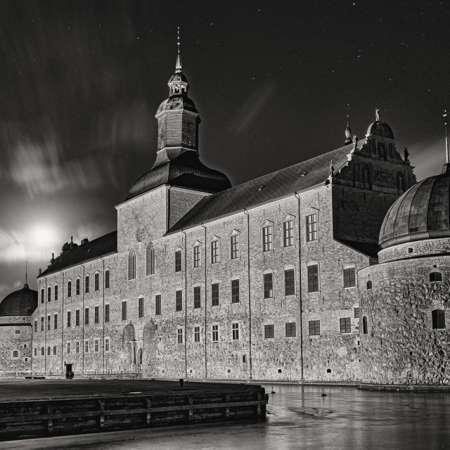 """Vadstena Slott in moonlight"" stock image"