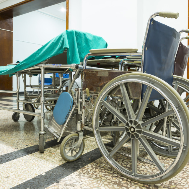 """""""Wheelchair in a hospital. No people"""" stock image"""