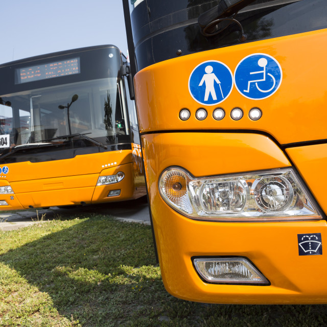 """""""Public transportation new busses Physically disabled"""" stock image"""