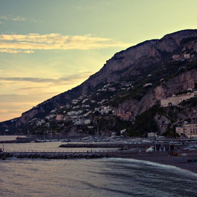 """Amalfi Coast at sunset"" stock image"
