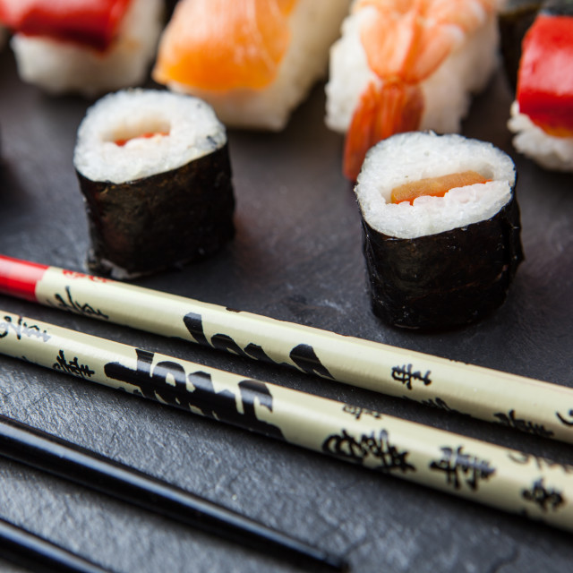 """Sushi and chopsticks"" stock image"