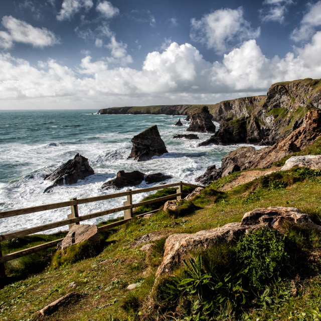 """Rocky coastline in Cornwall"" stock image"