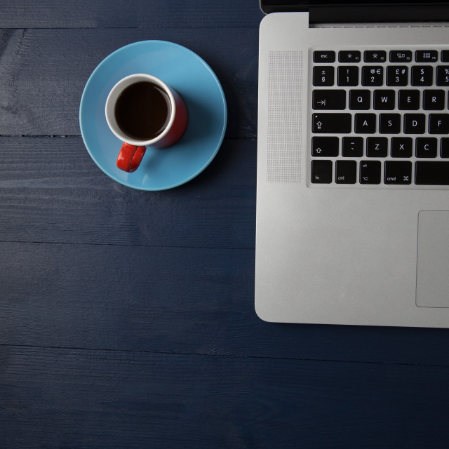 """Laptop and coffee"" stock image"