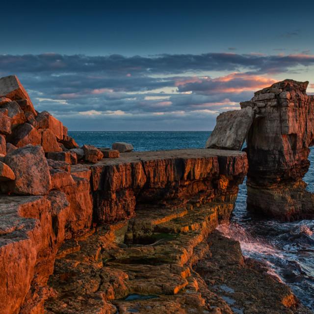 """Rocky coast, Dorset, England"" stock image"